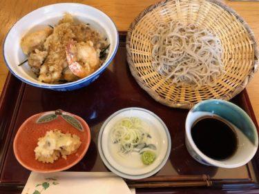 まるぬきの穴子・小海老天丼とお蕎麦のセット