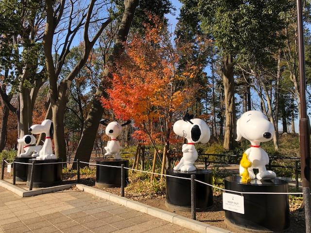 鶴間公園・5体のスヌーピーの像