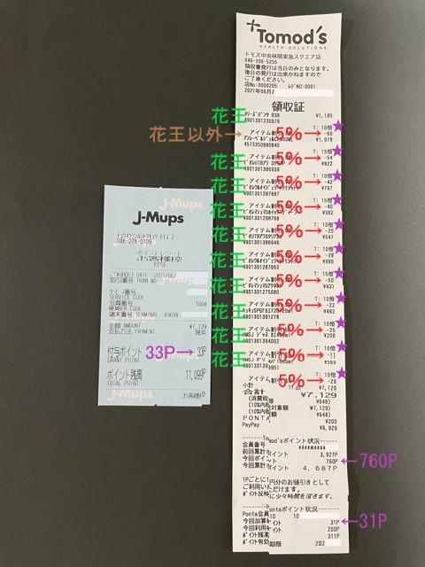 トモズ・ペイペイ花王キャンペーン30%(レシート)