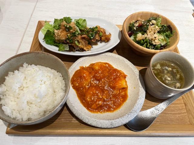 西安健菜キッチン・海老チリ&油淋鶏セット